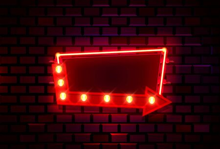 Neon frame on a brick colored wall. template design element.  イラスト・ベクター素材