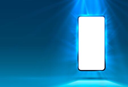 Phone in bright blue color, rays of light in the background. Vector illustration Çizim