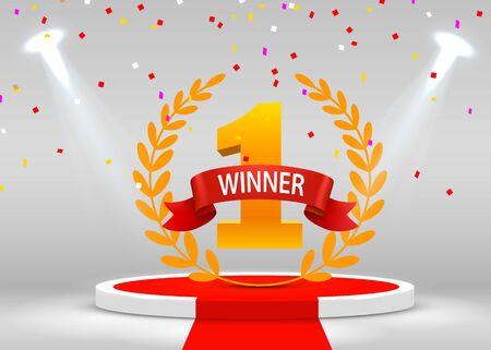 Gagnant de la première place. Podium de scène avec scène de confettis pour la cérémonie de remise des prix éclairée par des projecteurs. Concept de cérémonie de remise des prix. Toile de fond de scène. Illustration vectorielle