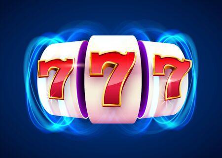 La machine à sous remporte le jackpot. 777 Concept de casino à gros gains.