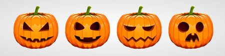Set of halloween pumpkins, funny faces. Autumn holidays. Vector illustration Ilustracja