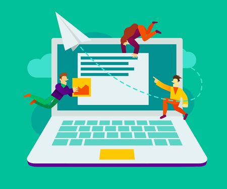 Creative teamwork. Group of small are building a business project on the Internet. The monitor screen is a building site. Presentation, web banner or landing page. Vector illustration Ilustração