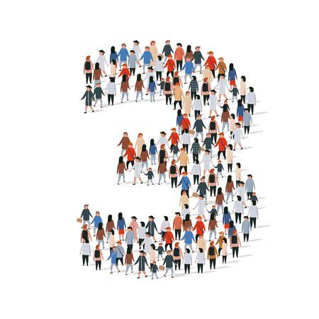 Large group of people in number 3 three form. Vector illustration Ilustração