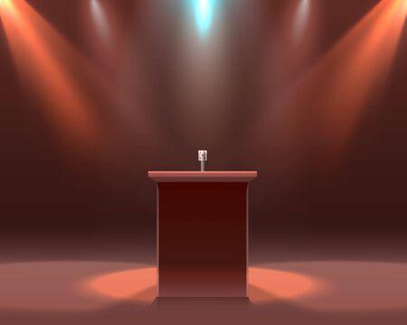 The microphone on the black scene, podium report. Vector illustration Иллюстрация
