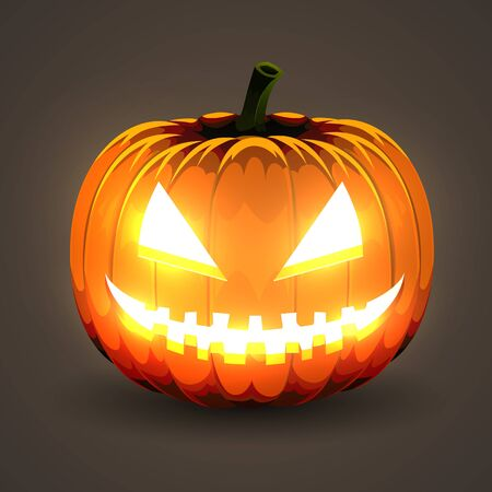 Halloween Pumpkin with glowing eyes on dark background. Vector illustration. Ilustracja