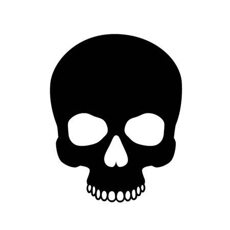 Human skull isolated on black, color symbol. Vector illustration Ilustracja