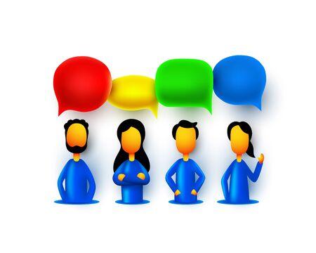 People teamwork group, business infographics sign chat mas. Vector illustration Ilustração