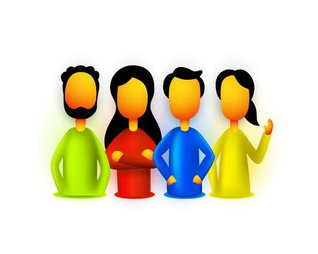 People teamwork group, business infographics work. Vector illustration