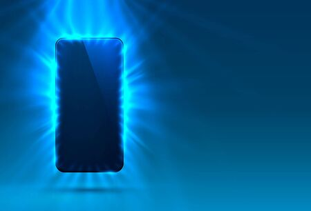 Phone in bright blue color, rays of light in the background. Vector illustration Ilustracja