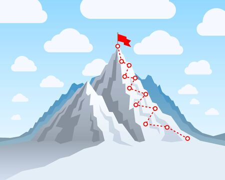 Hiking trip to the top of the mountain, In the blue sky. Vector illustration