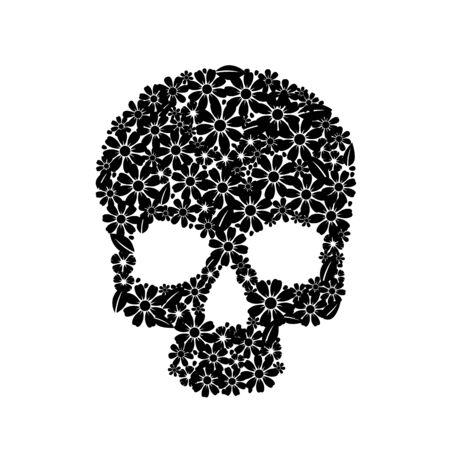 Painting skull flowers isolated on black, black symbol. Vector illustration
