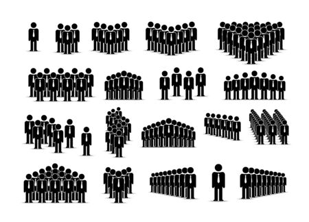 People team sign group set collection manager. Vector illustration