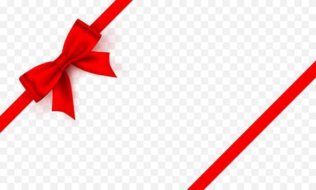 Bow red tape on the Transparent background. Vector illustration Illusztráció