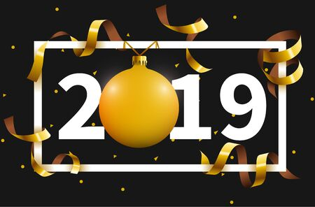 2018 Happy New Year background with golden Christmas tree toy ball. Vector illustration. Illusztráció