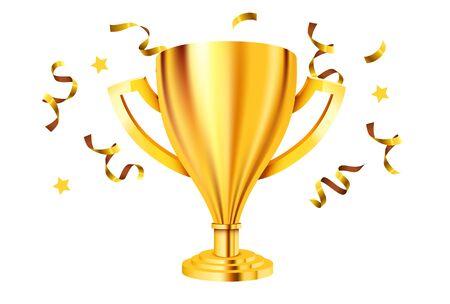 Realistic Golden Trophy with confetti. Vector Illustration Ilustração