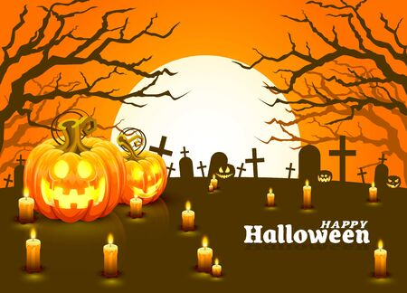 Cover Halloween pumpkin and candles, The card is discovered. Vector illustration