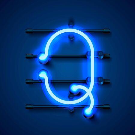Neon font letter Q, art design signboard. Vector illustration Illustration