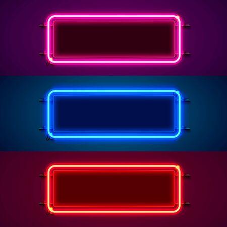 Neon frame sign in the shape of a square. Set color. template design element. Vector illustration Vecteurs