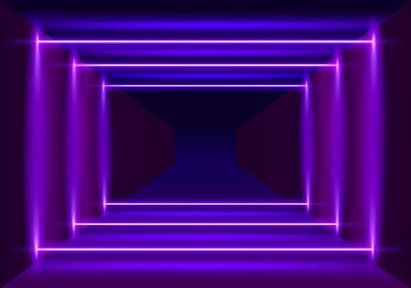 Neon scene, laser show on the night background. Vector illustration 向量圖像
