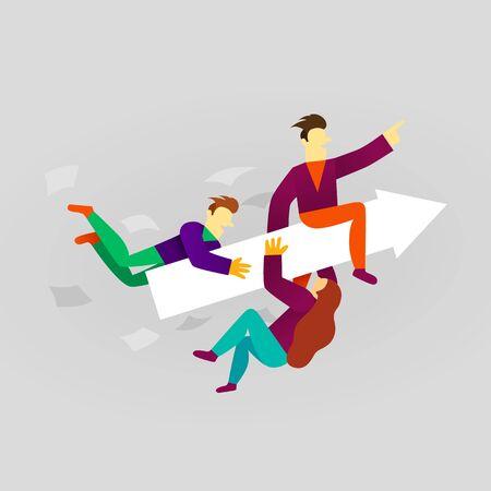 Business team ride arrow. Concept business success vector illustration. Flat cartoon character style. Vector illustration