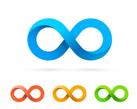 Symbol of infinity art info, color set collection. Vector Illustration Ilustracja