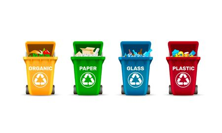 Waste bins, waste sorting, organic plastic glass and paper, a set of colored containers. Vector illustration Ilustracja