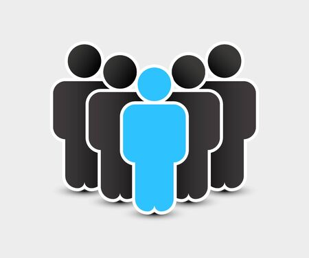 People icon in trendy flat style. Persons symbol for your infographics website design, logo. Crowd signs. Team or user group concept. Isolated on white background. Vector illustration. Ilustração