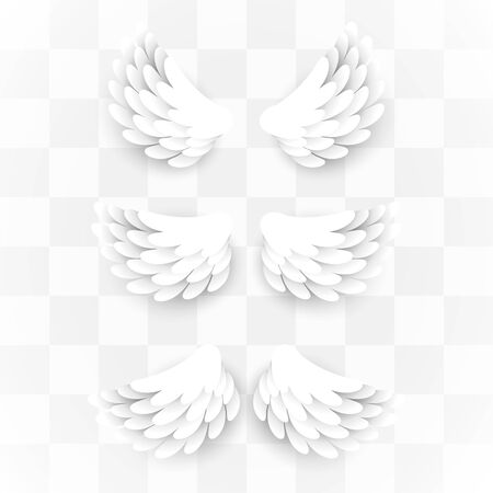 Artificial white paper wings set on transparent background. Vector illustration