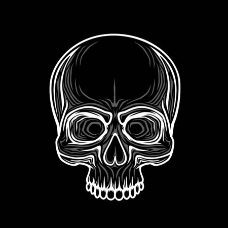 Human skull isolated on black, color object. Vector illustration