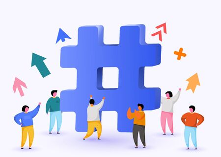 Hashtag sign. Concept of hashtag for social media marketing advertising, blogging, media planning, promotion in social network with group of happy people.