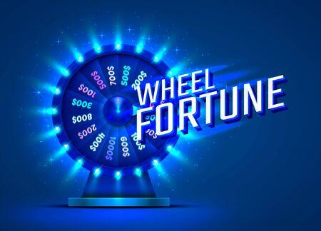 Casino neon colorful fortune wheel. blue background. Vector illustration