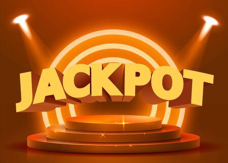 Abstract round podium illuminated with spotlight. Casino jackpot concept. Stage backdrop. Vector illustration