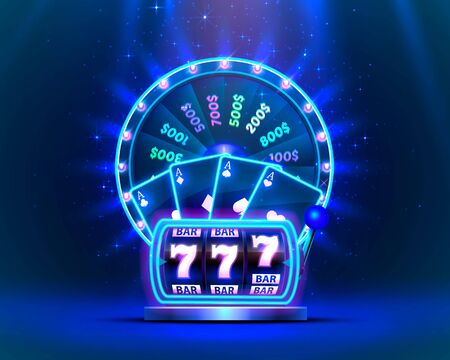 Casino neon colorful fortune wheel, Neon slot machine, Playing Cards wins the jackpot. Vector illustration