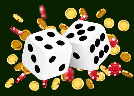 Two dices, surrounded by coin explosion. Luck banner. Casino concept. Vector illustration