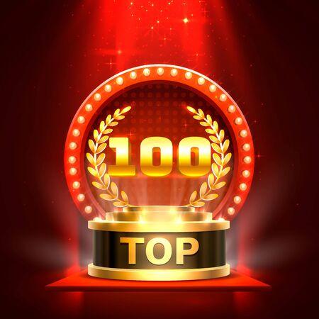 Top 100 best podium award sign, golden object. Vector illustration 向量圖像