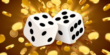 Two dices, surrounded by a luminous frame and coin explosion. Luck banner. Casino concept. Vector illustration 向量圖像