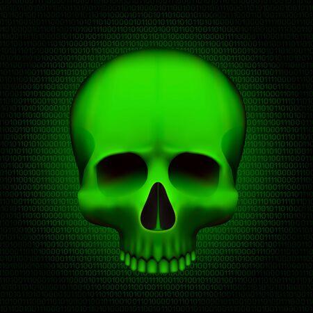 Skull is a program virus, On digital background. Vector illustration