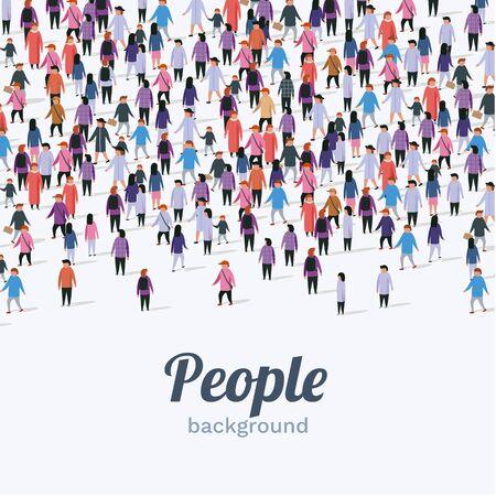 Large group of people on white background. People communication concept. Vector illustration Çizim