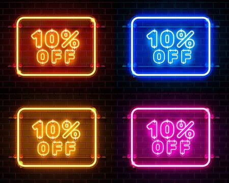 Neon 10 off jeu de couleurs de bannière de texte. Signe de nuit. Illustration vectorielle