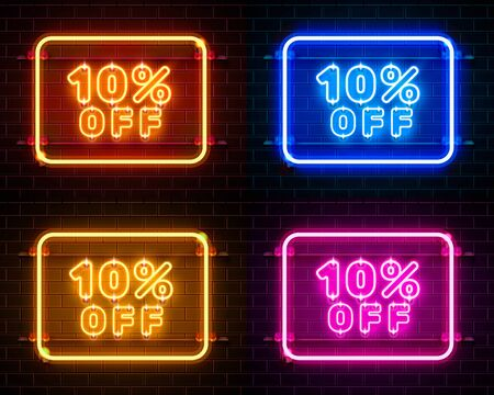 Neon 10 off text banner color set. Night Sign. Vector illustration