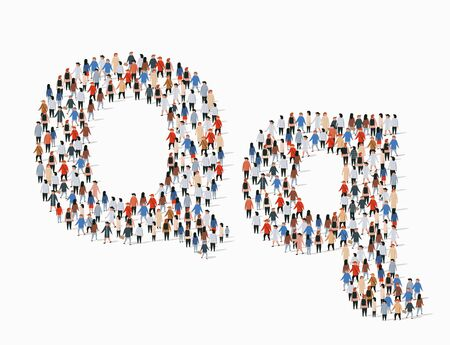 Large group of people in letter Q form. Vector seamless background