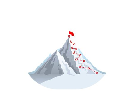 Hiking trip to the top of the mountain. Vector illustration