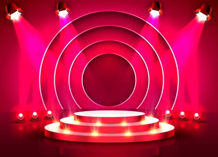 Stage podium with lighting, Stage Podium Scene with for Award Ceremony on red Background. Vector illustration Archivio Fotografico - 137241782