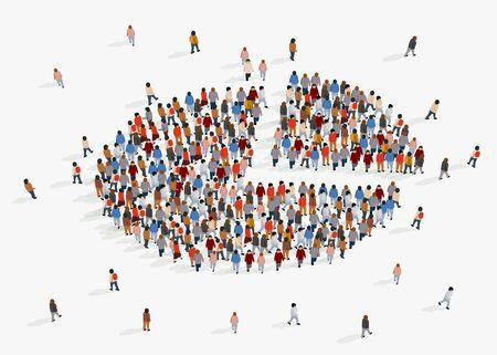 Informe demográfico de la población, gráfico circular compuesto por personas. Ilustración vectorial