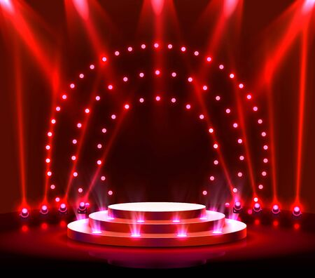Stage podium with lighting, Stage Podium Scene with for Award Ceremony on red Background. Vector illustration Archivio Fotografico - 137242903