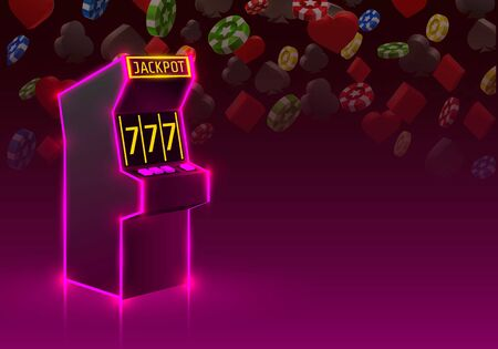 3d slots machine wins the jackpot, Neon slot machine, Playing Cards wins the jackpot. Vector illustration