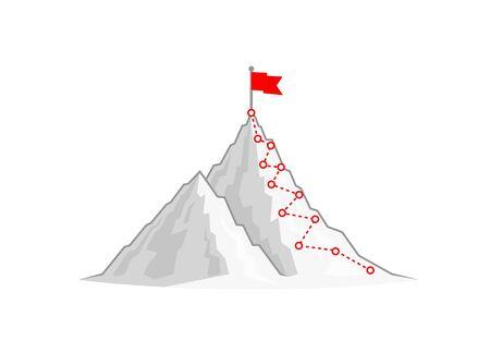 Wycieczka piesza na szczyt góry. Ilustracja wektorowa