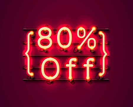 Neon frame 80 off text banner. Night Sign board. Vector illustration