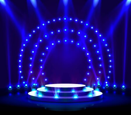 Stage podium with lighting, Stage Podium Scene with for Award Ceremony on blue Background. Vector illustration Archivio Fotografico - 137314415