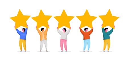 Five stars rating flat style vector concept. People are holding stars. Feedback consumer or customer review evaluation, satisfaction level and critic background. Vector illustration Illustration